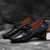 Pinsv Kulit Asli Pria 'S Flats Sepatu Sepatu Sandal Sepatu Kasual (Hitam) - 5