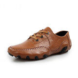 Pinsv Men Genuine Leather Formal Shoes Casual Business Shoes(Brown) ใน จีน