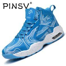 PINSV Men's Basketball Shoes Sneaker Trending Style Basketball Sport Boots-Blue