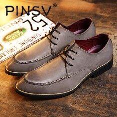 ซื้อ Pinsv Mens Shoes Genuine Leather Men Shoes Formal Oxford Shoes For Men Office Social ใหม่