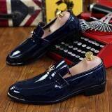 Pinsv Patent Leather Men Formal Shoes Loafers Navy เป็นต้นฉบับ