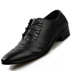 ส่วนลด Pinsv Synthethic Leather Men S Casual Business Leather Shoes Black จีน