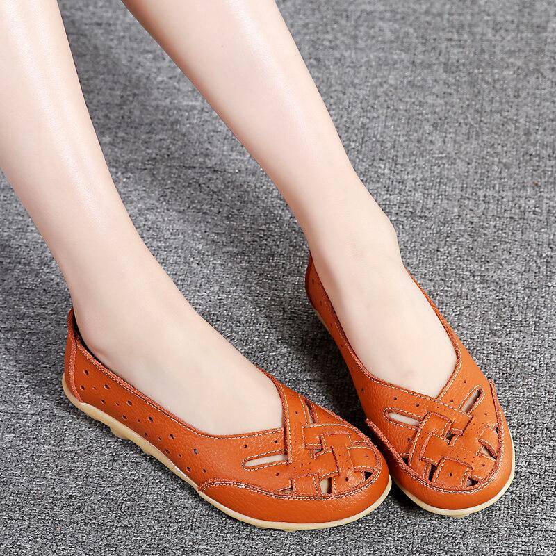 Pinsv 35 44 Wanita Sies Besar Sepatu Sandal Ibu Anti Selip Loafers ... 35b3cc9d8b
