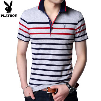 PLAYBOY men Fold-down collar striped business polo shirt mercerized cotton short sleeved t-shirt (Gray) (Gray)