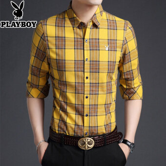 Harga PLAYBOY Plus velvet youth thick cotton shirt long-sleeved shirt (Bj-77807 yellow)