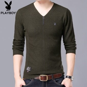 Playboy Solid Color Autumn And Winter Mens Pullover Knit Shirt ...