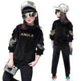 Pleuche Teens Girls 105 165Cm Body Height 2 Pieces Velour Pant Shirts Tops Color Black เป็นต้นฉบับ