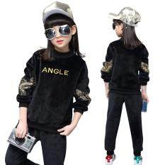ราคา Pleuche Teens Girls 105 165Cm Body Height 2 Pieces Velour Pant Shirts Tops Color Black ใหม่ล่าสุด