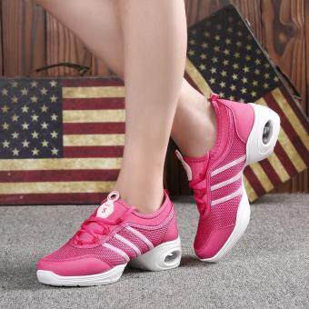 Harga Plus Size 34-42 Women New Style Adult Ladies Soft Square DanceShoes Modern Dance Net Breathable Jazz Outdoor Sneakers Dance Shoes(rose)