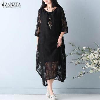 Plus Size M-5XL ZANZEA Women O Neck 3/4 Sleeve Lace Crochet Beach Party Elegant Vintage Loose Solid Midi Dress (Black)