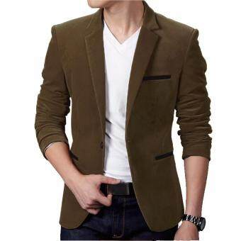 PODOM New Mens Casual Slim Fit Suit One Botton Formal Business Blazer Coat Jacket Tops Dark
