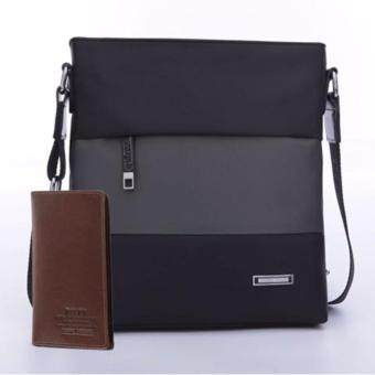 Polo Men's Business Casual Briefcase Bag Male Fashion Multi-function Cross-body Bag Messerger Bag-Black&Grey