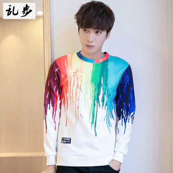 Harga Popular brand 3D European and American colorful men style hoodie