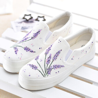 Harga (Pre-Order) HP Muffled Thick Student Canvas Shoes (Violet Flower)