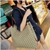 [PRE-ORDER] Women Big Volume Weaved Printing Shoulder Bag-Beige