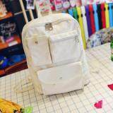 [PRE-ORDER] Women Canvas Casual Travel Student Backpack - White