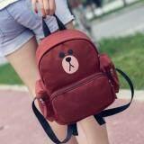 [PRE-ORDER] Women Cute Line Brown Student Backpack (Brown)