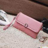 [PRE-ORDER] Women D PU Weaved Envelope Handbag (Pink)
