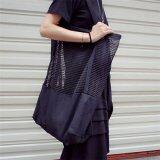 [PRE-ORDER] Women Grid Canvas Big Capacity Shoulder Bag Black