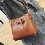 [PRE-ORDER] Women Retro Square Bucket Bag - Brown