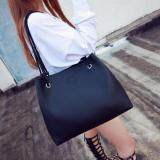[PRE-ORDER] Women Simple Soft PU Shoulder 2 Bags - Black
