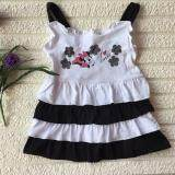 PREMIUM QUALITY Cute Flowery Layered Dress for Girls - Black and White