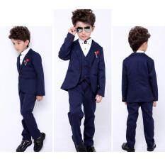 ขาย Prince Wedding Party Boy S 3 Pecs 95 155Cm Body Height Vest Pant Suits Coat Color Dark Blue เป็นต้นฉบับ