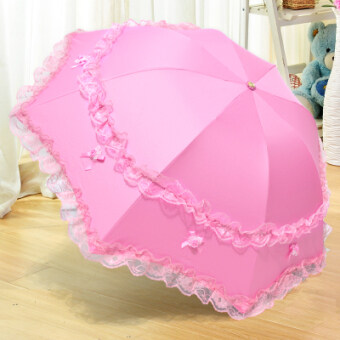 Harga Princess umbrella Korean-style folding lace dual use parasol (Korea pink) (Korea pink)
