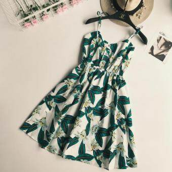 Harga Printed Dungaree dress (Green Leaves) (Green Leaves)