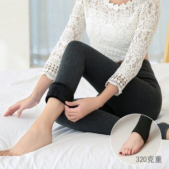 Qiudong Plus velvet female outerwear New style feet pants leggings (Stepping dark gray color)