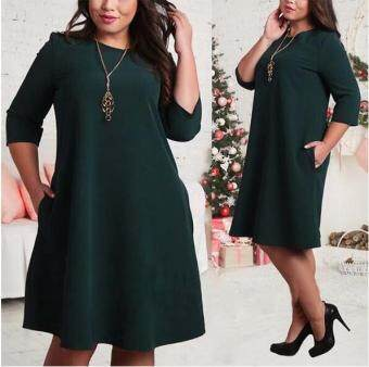 Harga QQ Big size dress clothes Green