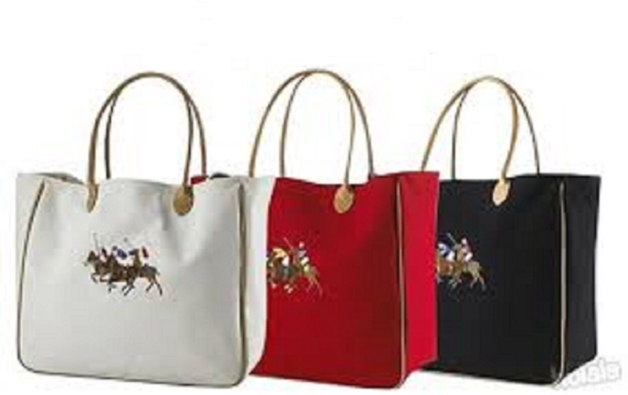 R.L Large Canvas Tote Bag - 3 Colors WHITE FREE SHIPPING (selling way below cost )