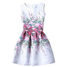 โปรโมชั่น Retro Flower Slim High Waist A Lined Pop Midi Dresses Color First Pic