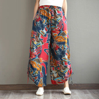 Harga Retro spring and new Asian pants Linen casual pants (Red wine) (Red wine)