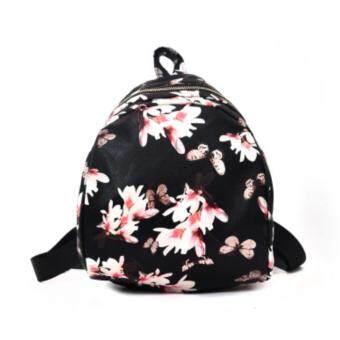 ELINA Handbag Wanita Shell Printed Backpack (Black Floral)