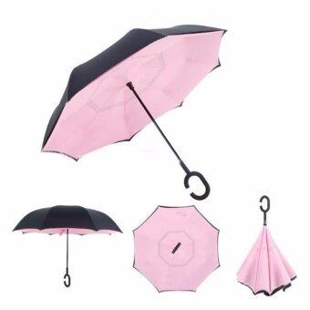 Harga Reverse Inverted Umbrella Rain Women Men Double Layer ReverseUmbrella C-Hook Hands Self Stand Inside Out Rain ProtectionCar(Pink)