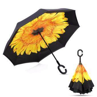 Harga Reverse Inverted Umbrella Rain Women Men Double Layer ReverseUmbrella C-Hook Hands Self Stand Inside Out Rain ProtectionCar(Sunflower)