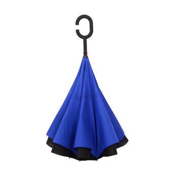 Reverse Stand take hands-free-long-handled umbrella excellent rainor shine umbrella (Gentleman blue (reverse umbrella)) (Gentlemanblue (reverse umbrella))