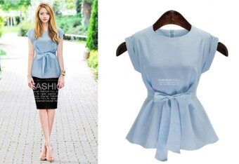 Harga Ribboned Style Semi-Formal European Dress BLUE