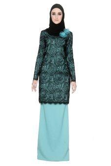 Rizman Ruzaini Blooming Lace Mix Kurung 06 Tiffany blue