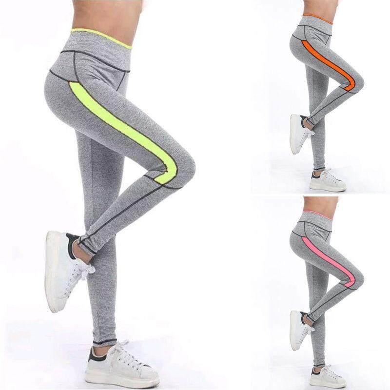 Lari Tights Wanita Tinggi Pinggang Membentang Dapat Bersirkulasi Sport Gimnasium Tights Cepat Kering Yoga Celana (Gray & Oranye) -Internasional