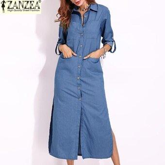 S-5XL ZANZEA Women Long Sleeve Buttons Down Shirt Dress Denim Blue Split Asymmetrical Long Dress Plus Size (Light Blue)