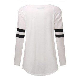 S-5XL ZANZEA Women's Round Neck Long Sleeve Stripe Splice Blouse Shirt Tops Plus Size (White) - 3