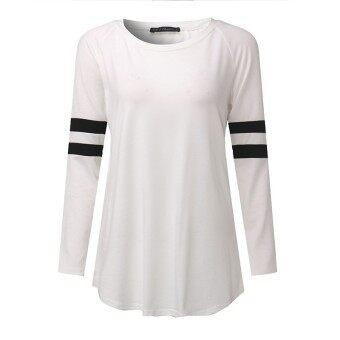 S-5XL ZANZEA Women's Round Neck Long Sleeve Stripe Splice Blouse Shirt Tops Plus Size (White) - 2