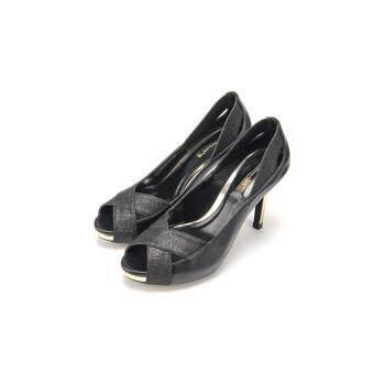 S8528 Sparking Peep-toe Platforms - Black Color