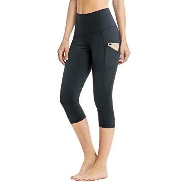Safort Tinggi Waisted Yoga Capri Celana untuk Wanita, Kontrol Perut Legggings untuk Gimnasium Latihan Joging Loungwear, selangkangan Gusseted Buram Non Tembus Pandang, Kantong Samping, Saku Tersembunyi, Hitam, M-Internasional