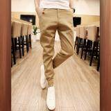 Sage Harem Men Casual Harem Pant Male Slim fit Shrinkage Foot Trousers Cotton Sport Jogger Feet Pant - Khaki