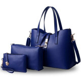 Sage Luxury Premium PU Bags (Set of 3) - Navy