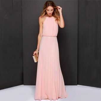Harga Sexy Women Lace Long Maxi Prom Gown Evening Cocktail Chiffon PartyWedding Dress Pink