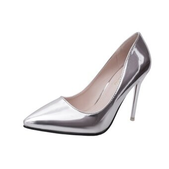 Shallow mouth fine with professional silver high-heeled shoes workshoes Shoes (Silver) (Silver)